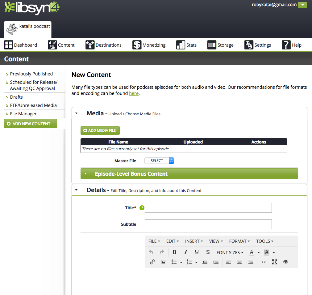 libsyn dashboard